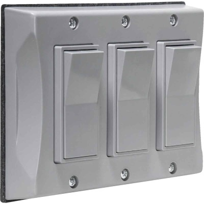 Bell 3-Gang Vertical Mount Gray Weatherproof Outdoor Rocker Switch Cover