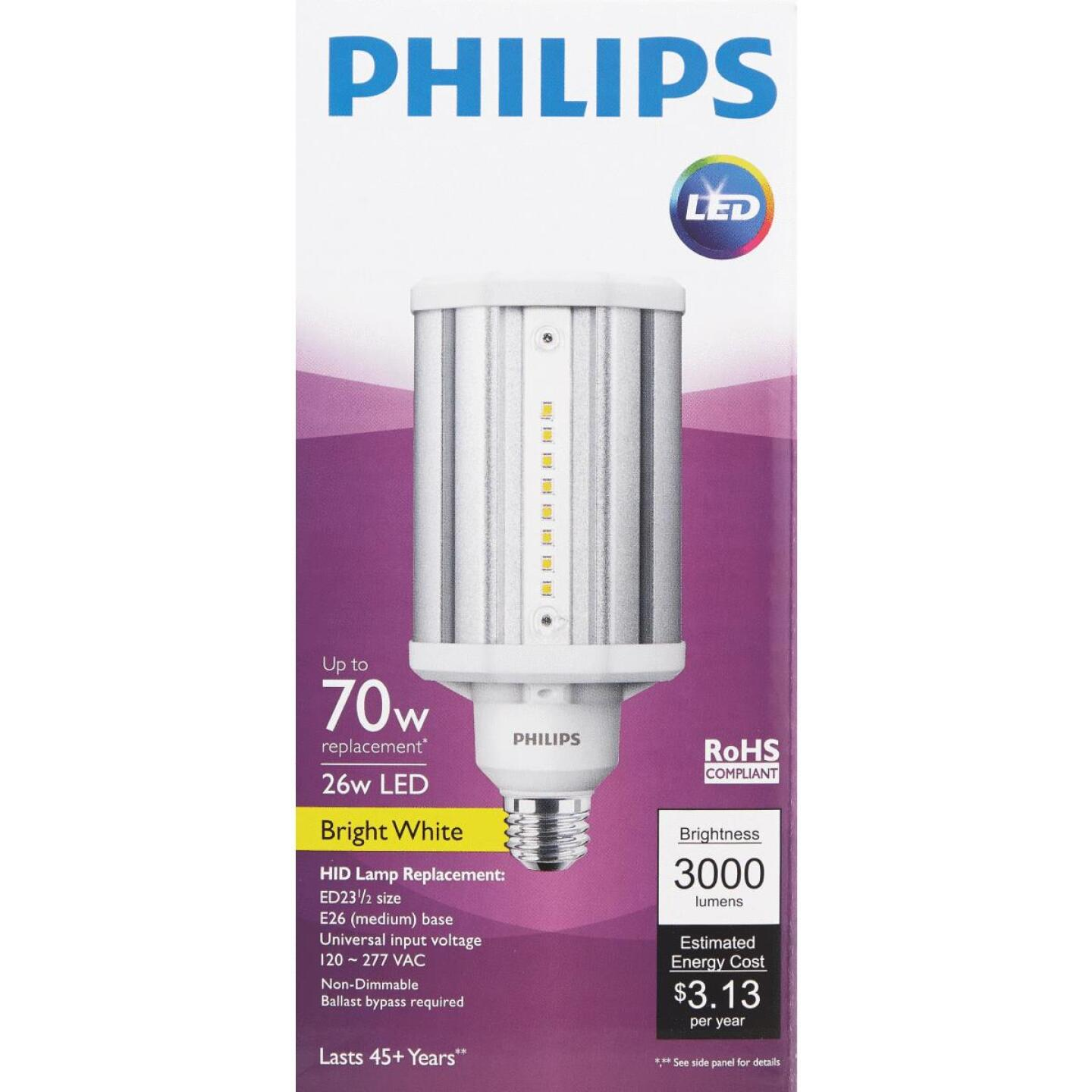 Philips TrueForce 26W Clear Corn Cob Medium Base LED High-Intensity Light Bulb Image 2