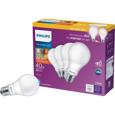 Philips Warm Glow 40W Equivalent Soft White A19 Medium Dimmable LED Light Bulb (4-Pack)