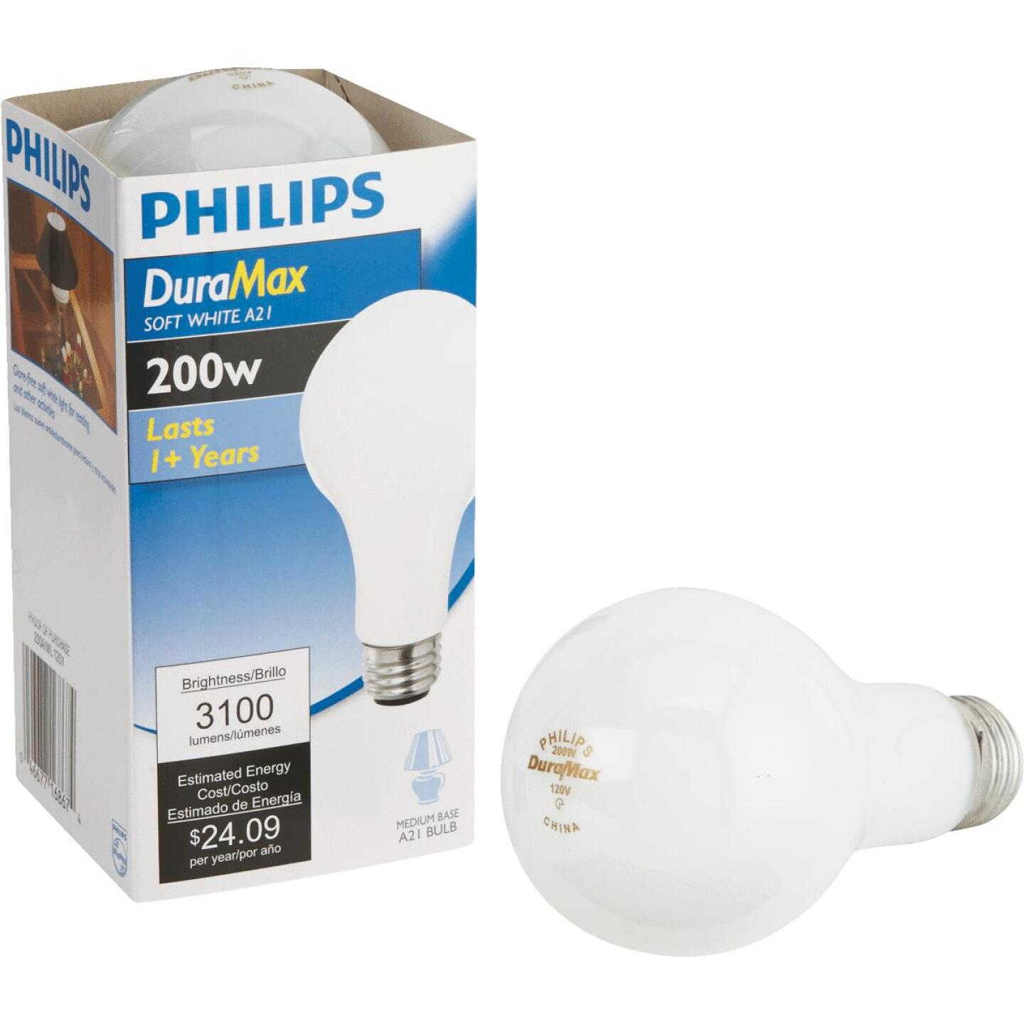 Philips DuraMax 200W Frosted Soft White Medium A21 Incandescent Light Bulb Image 1