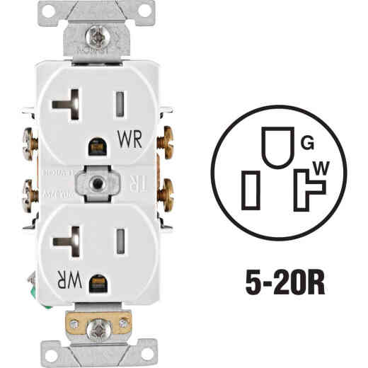Leviton 20A White Tamper & Weather Resistant Commercial Grade 5-20R Duplex Outlet