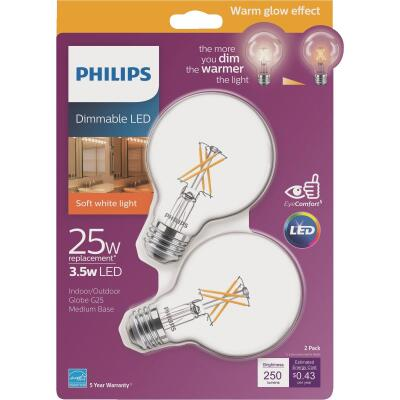 Philips Warm Glow 25W Equivalent Soft White G25 Medium Dimmable LED Decorative Globe Light Bulb (2-Pack)