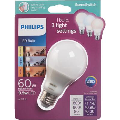 Philips SceneSwitch 60W Equivalent Soft White A19 Medium LED Light Bulb