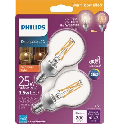Philips Warm Glow 25W Equivalent Soft White G16.5 Candelabra Dimmable LED Decorative Light Bulb (2-Pack)