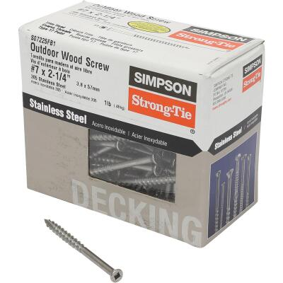 Simpson Strong-Tie #7 x 2-1/4 In. Square Drive Trim Head Stainless Steel Screw (138 per Box)