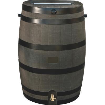 RTS Home Accents 50 Gal. Brown Woodgrain Polyethylene Rain Barrel