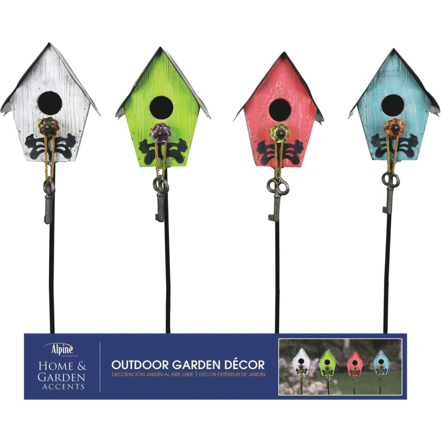 Alpine 38 In. Wooden Birdhouse Garden Stake Lawn Ornament Image 2