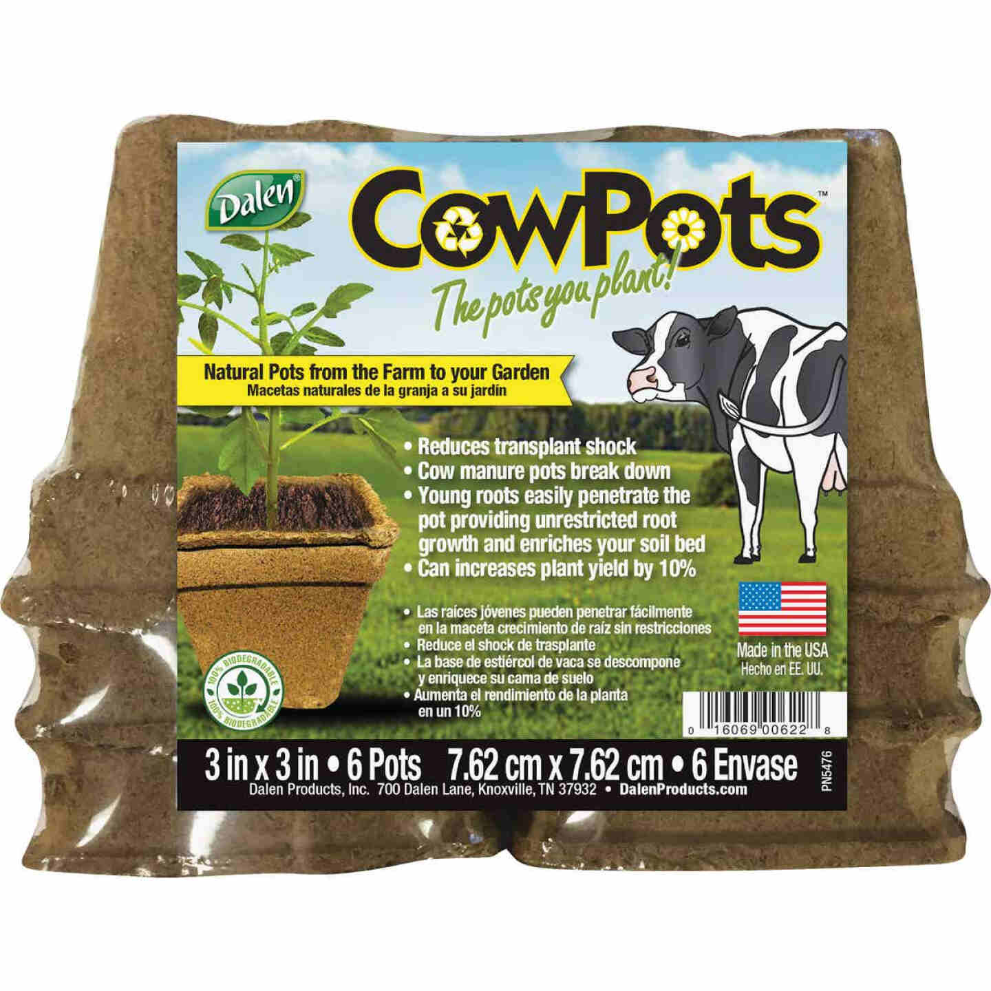Dalen CowPots 3 In. W. x 3 In. L. Square Cow Manure Grow Pot (6-Pack) Image 1