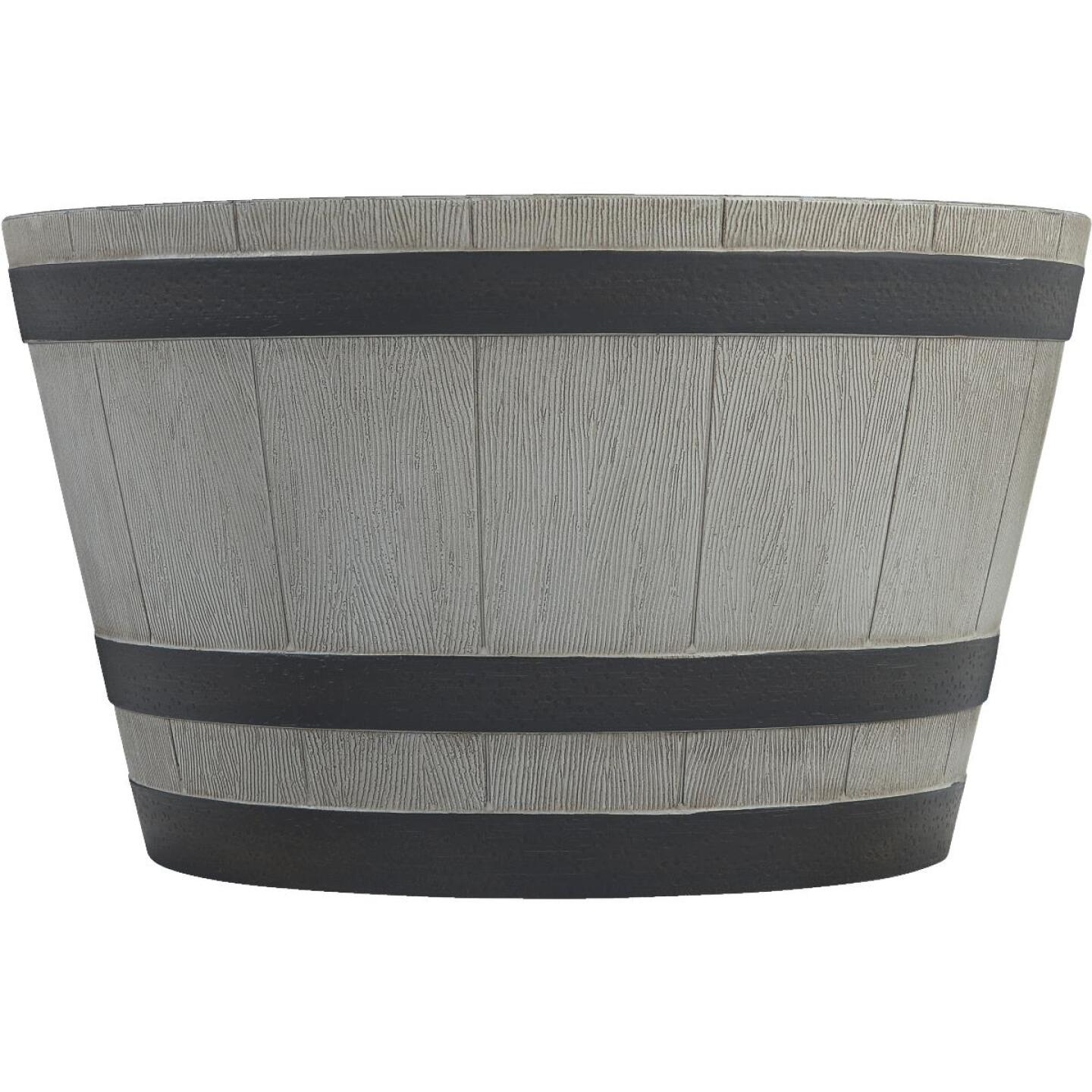 Southern Patio 13-1/2 In. H. x 22-1/2 In. Dia. Birchwood High-Density Resin Traditional Whiskey Barrel Planter Image 2