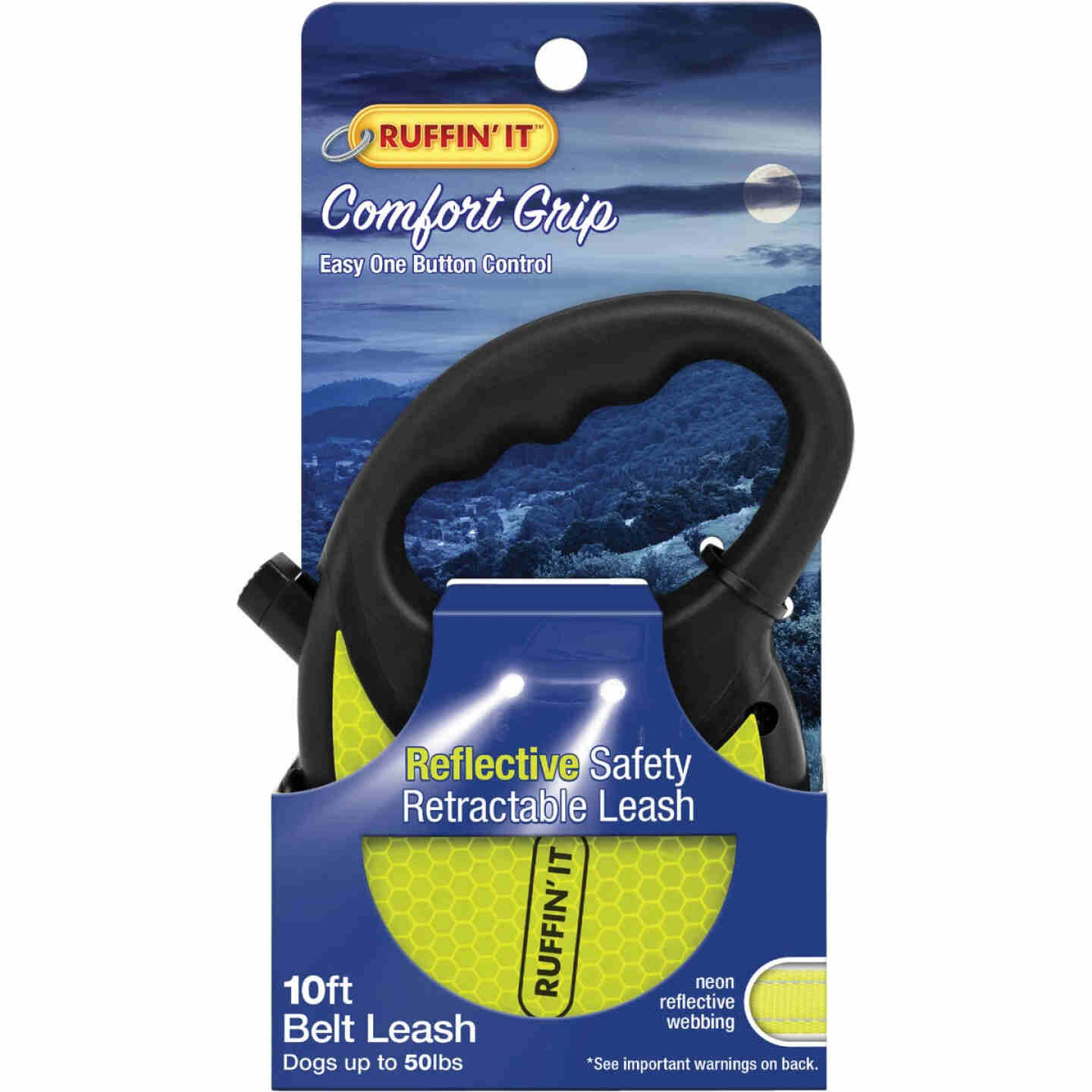 Westminster Pet Ruffin' it 10 Ft. Webbed Reflective Neon Yellow Up to 50 Lb. Dog Retractable Leash Image 2