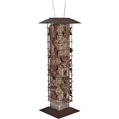 Perky-Pet Squirrel-Be-Gone Bronze Metal Leaf Tube Bird Feeder