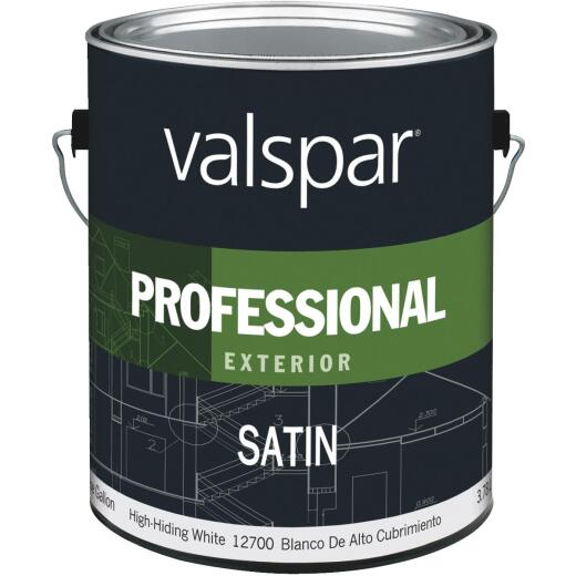 Valspar Professional 100% Acrylic Satin Exterior House Paint, High-Hiding White, 1 Gal.