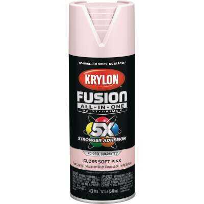 Krylon Fusion All-In-One Gloss Spray Paint & Primer, Pink Blush