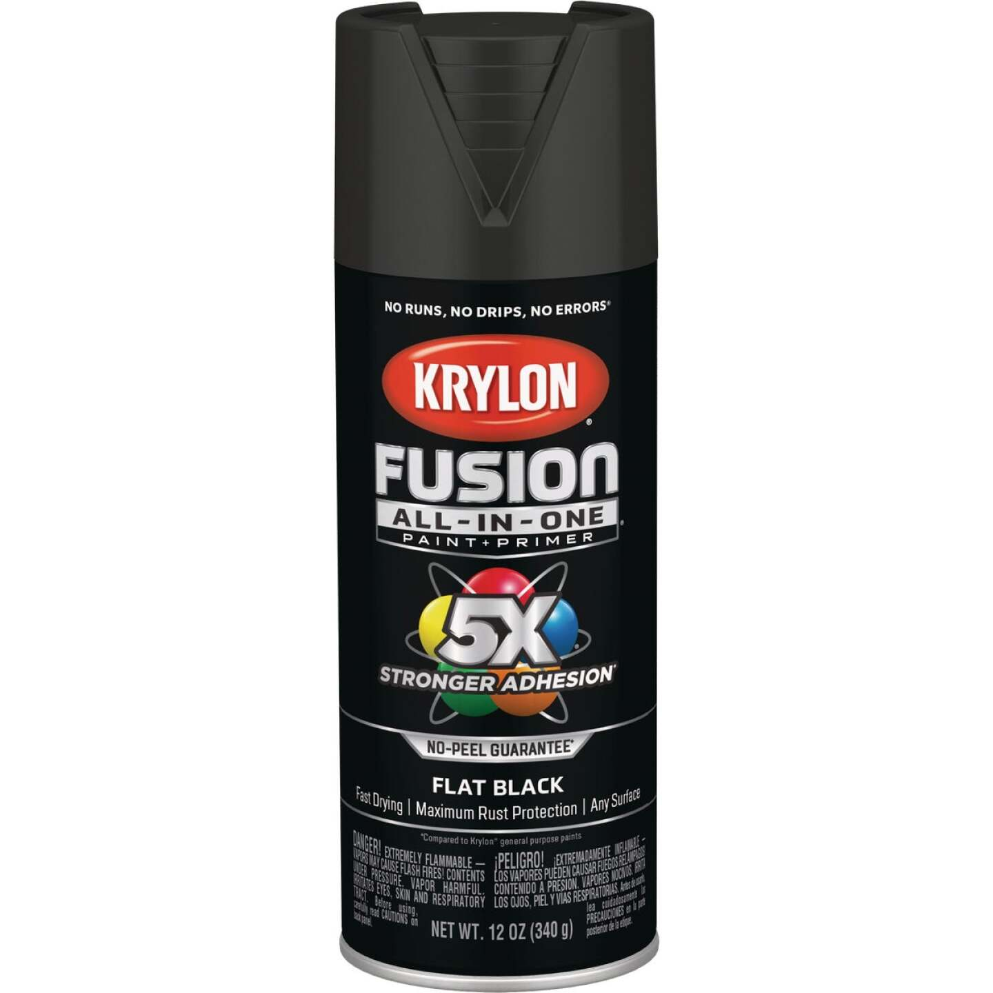 Krylon Fusion All-In-One Flat Spray Paint & Primer, Black Image 1