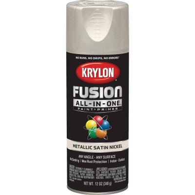 Krylon Fusion All-In-One Metallic Spray Paint & Primer, Satin Nickel