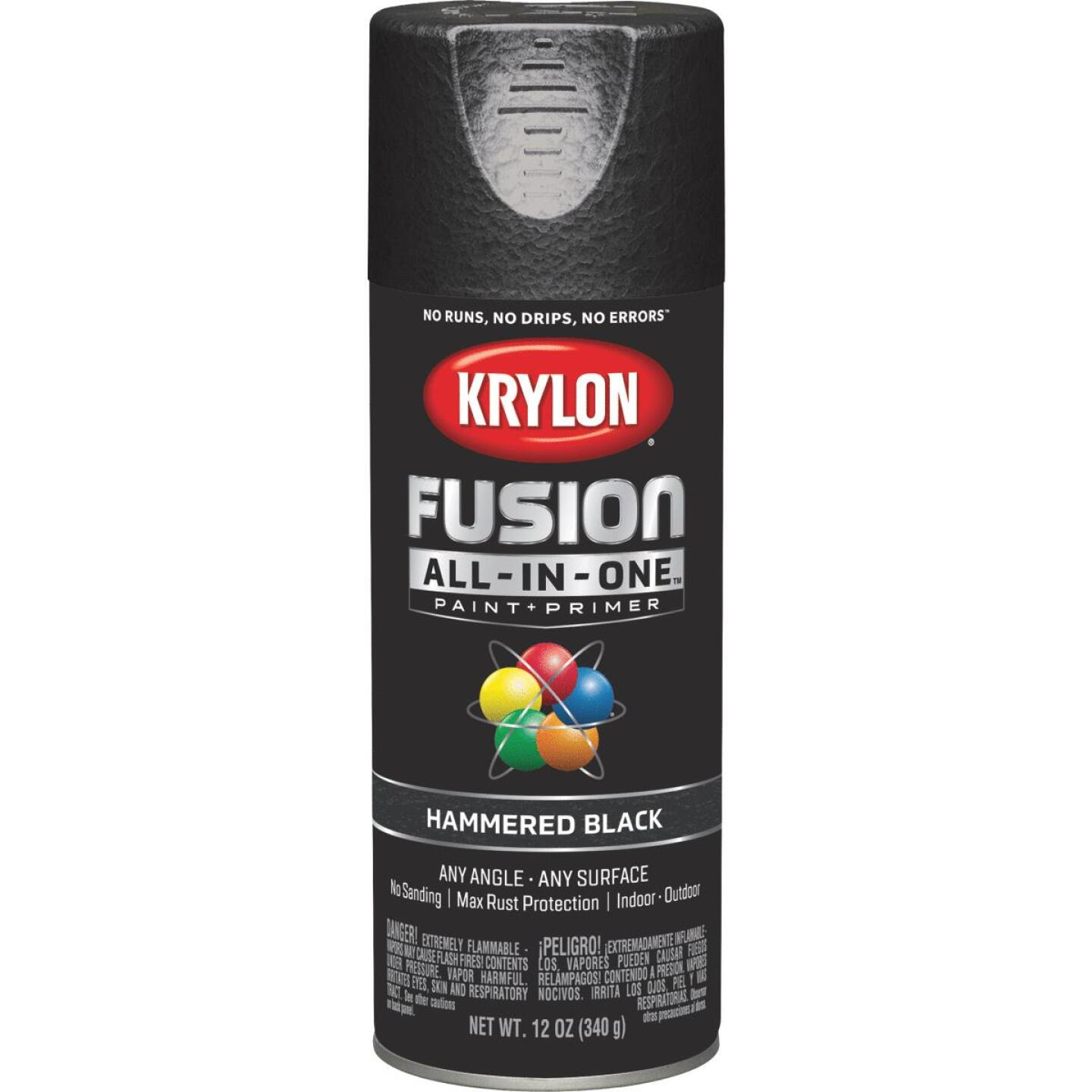 Krylon Fusion All-In-One Hammered Spray Paint & Primer, Black Image 1