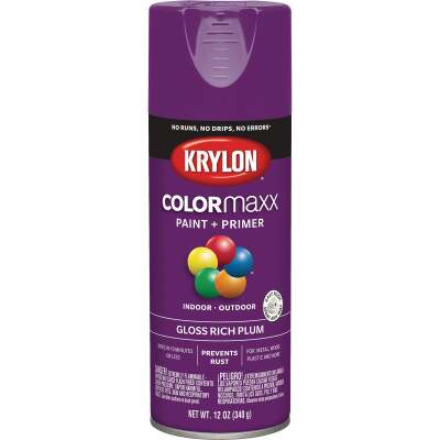 Krylon Colormaxx Gloss Spray Paint & Primer, Rich Plum