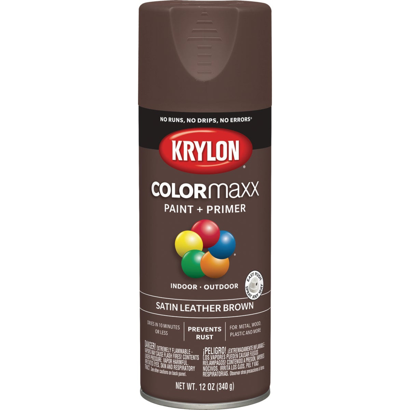 Krylon Colormaxx Satin Spray Paint & Primer, Leather Brown Image 1
