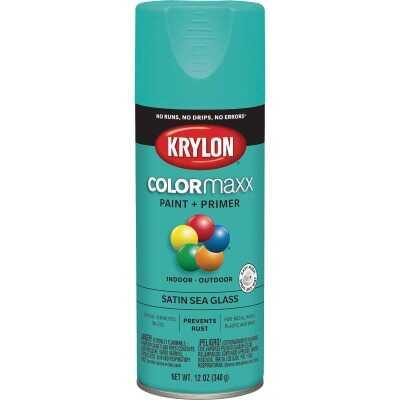 Krylon Colormaxx Satin Spray Paint & Primer, Sea Glass