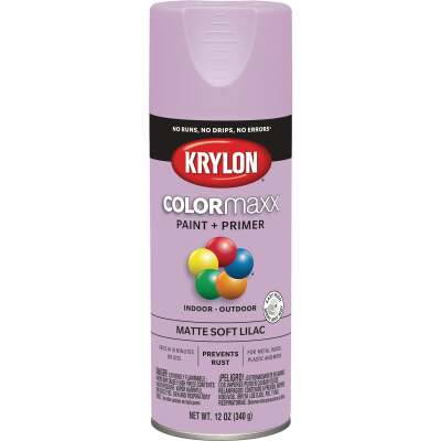 Krylon Colormaxx Matte Spray Paint & Primer, Soft Lilac