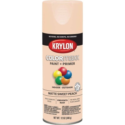 Krylon Colormaxx Matte Spray Paint & Primer, Sweet Peach