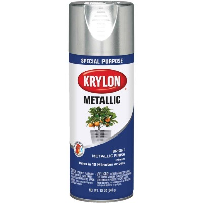 Krylon Metallic 11 Oz. Gloss Spray Paint, Bright Silver