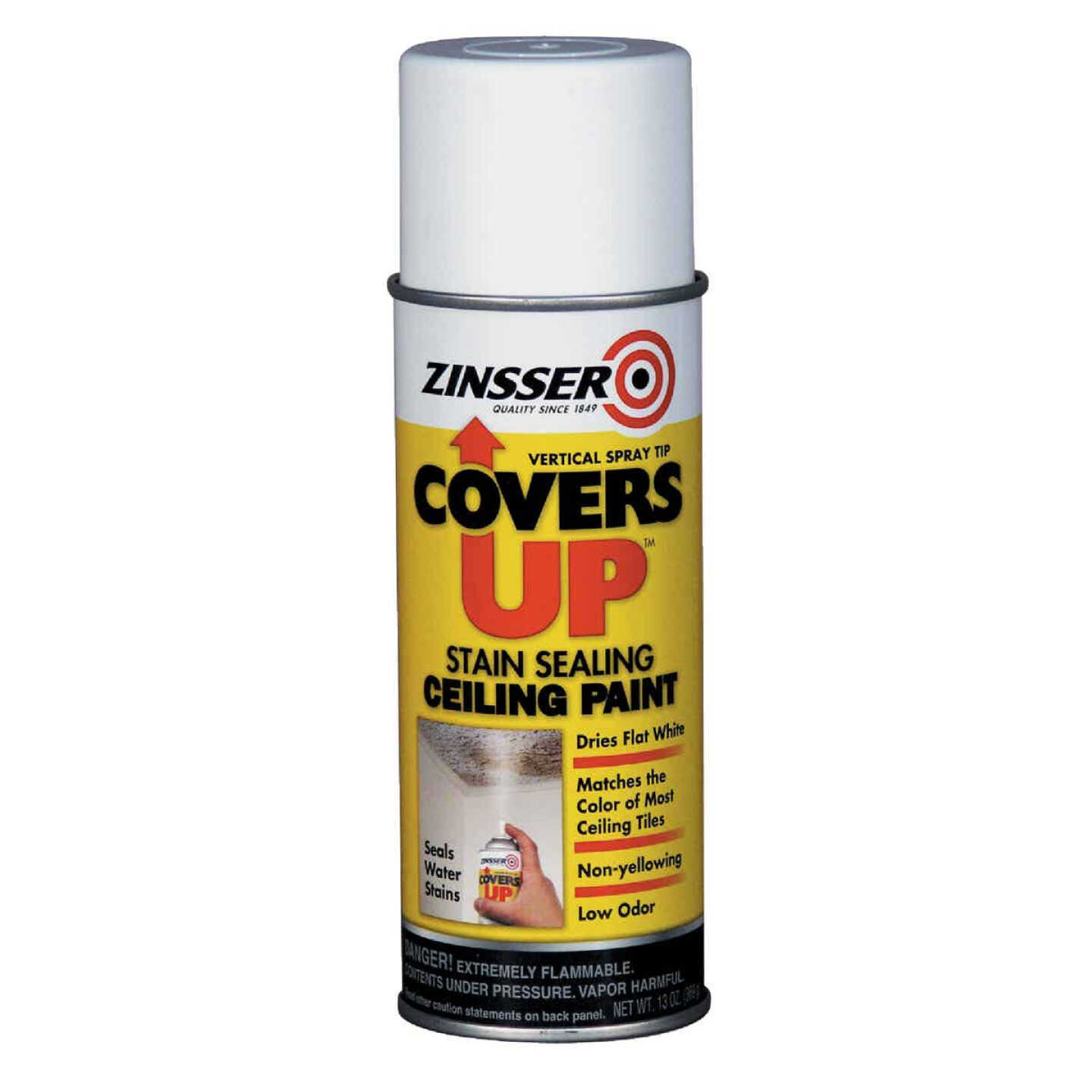 Zinsser COVERS UP Stain Sealing Spray Paint Primer, White, 13 Oz. Image 1