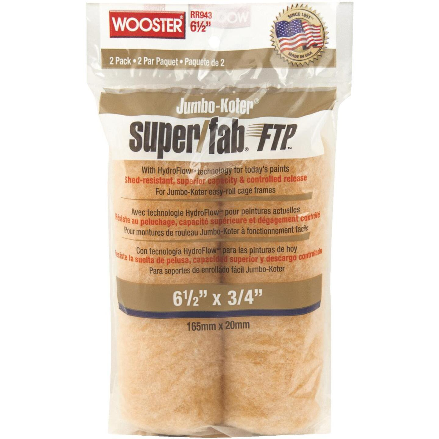 Wooster Jumbo-Koter Super/Fab FTP 6-1/2 In. x 3/4 In. Mini Knit Fabric Roller Cover (2-Pack) Image 1