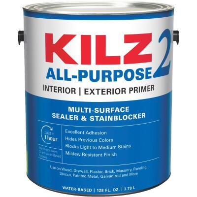 KILZ 2 Latex Interior/Exterior Sealer Stain Blocking Primer, White, 1 Gal.