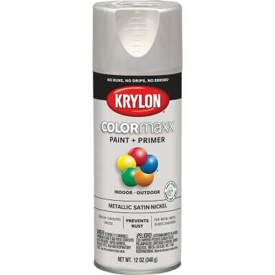 Krylon ColorMaxx 11 Oz. Brushed Metallic Satin Spray Paint, Nickel