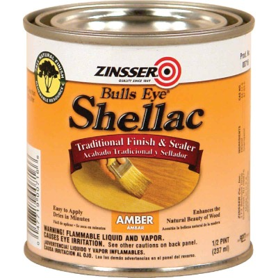 Zinsser Bulls Eye Amber Shellac, 1/2 Pt.
