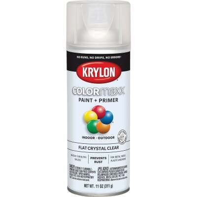 Krylon ColorMaxx 11 Oz. Flat Paint + Primer Spray Paint, Crystal Clear