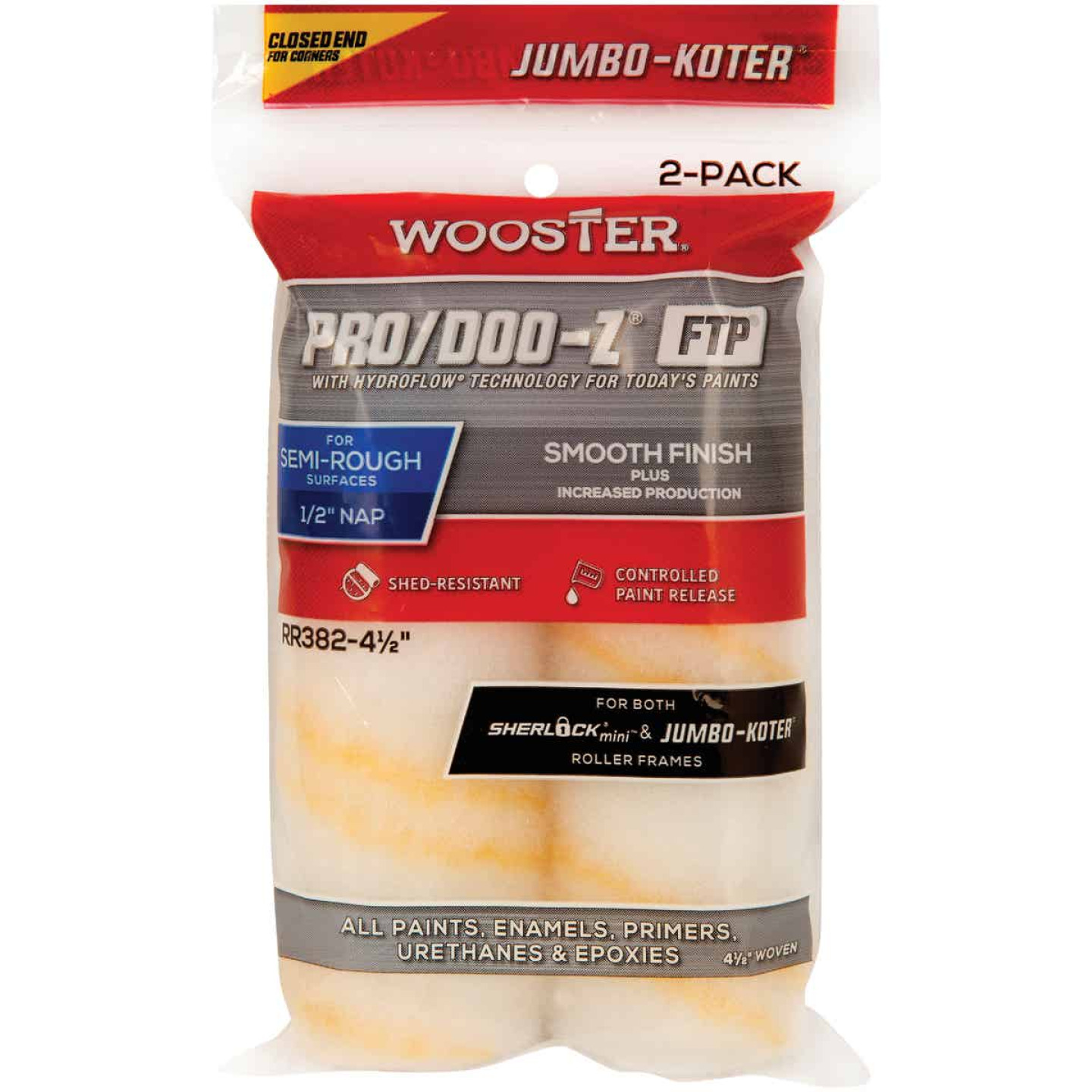Wooster Jumbo-Koter P/D FTP 4-1/2 In. x 1/2 In. Woven Paint Roller Cover (2 Pack) Image 1
