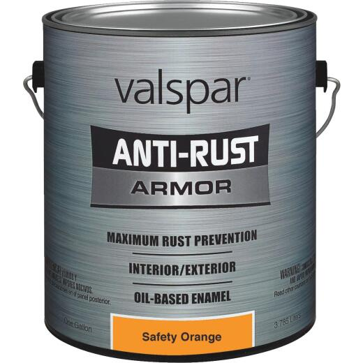 Valspar Oil-Based Gloss Anti-Rust Armor Safety Color Rust Control Enamel, Safety Orange, 1 Gal.