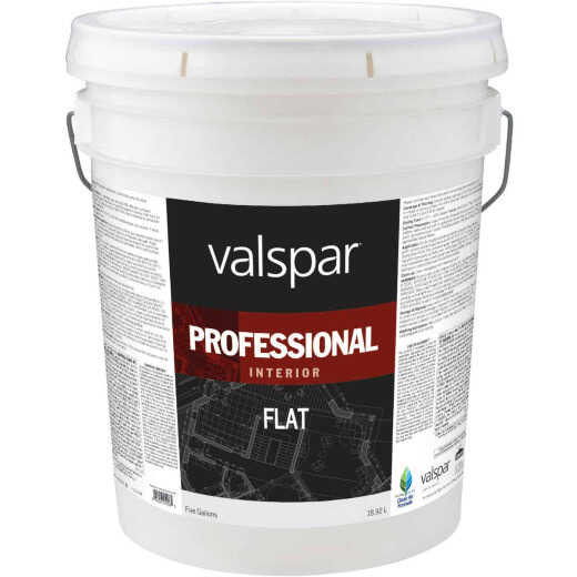Valspar Professional Latex Flat Interior Wall Paint, High Hide White, 5 Gal.