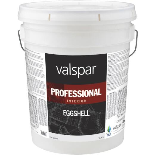Valspar Professional Latex Eggshell Interior Wall Paint, High Hide White, 5 Gal.