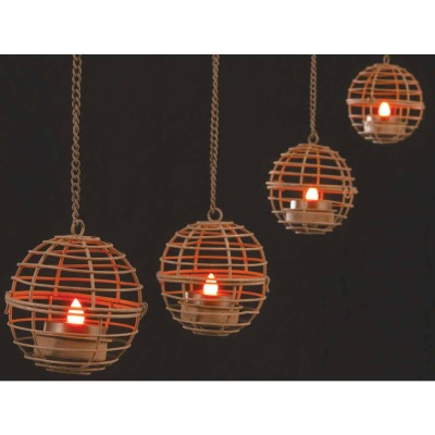 Gerson 4-Light Brown Wire Hanging Fireball Patio Light Set (4-Pack)