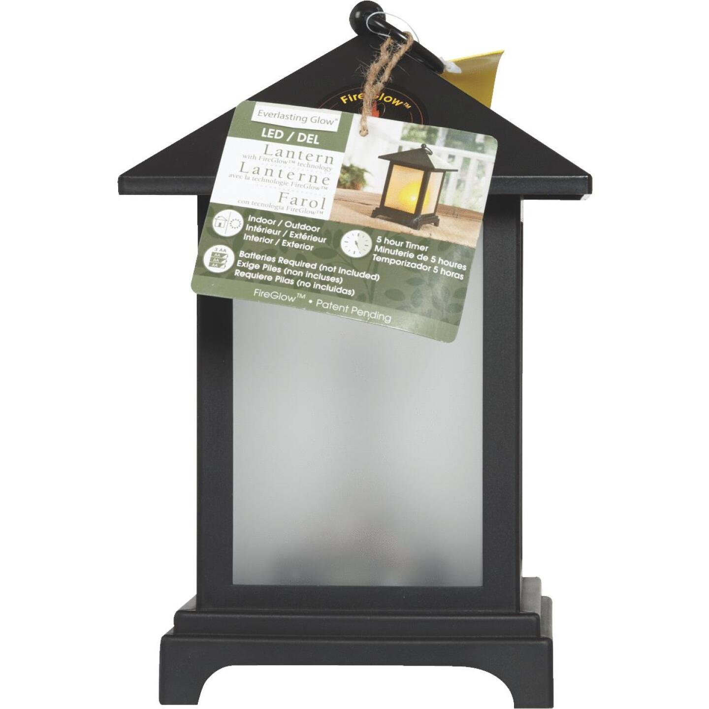 Everlasting Glow 4.13 In W. x 9.25 In. H. x 4.13 In. L. Black Square Patio Lantern Image 2