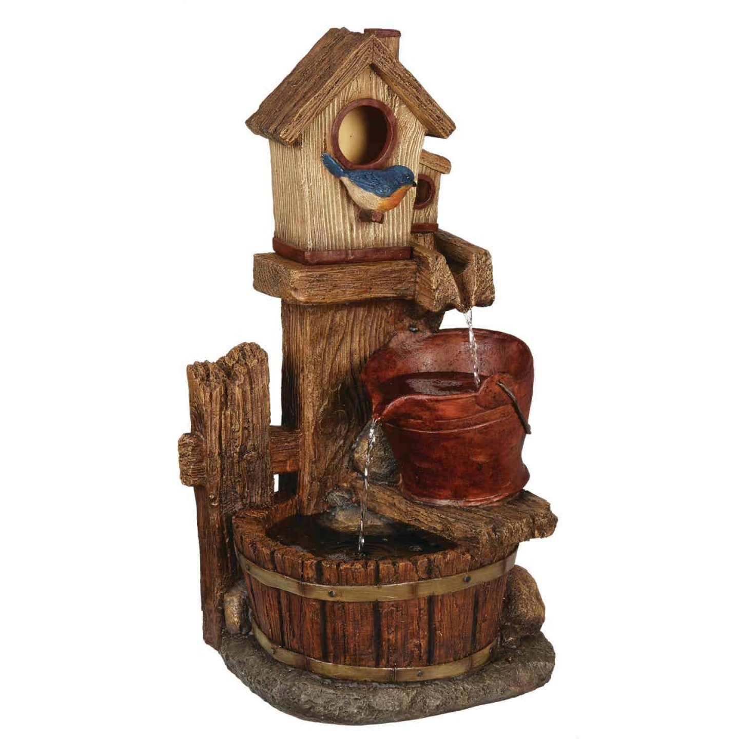 Best Garden 13.5 In. W. x 26.5 In. H. x 10.5 In. L. Polyresin Birdhouse Fountain Image 1
