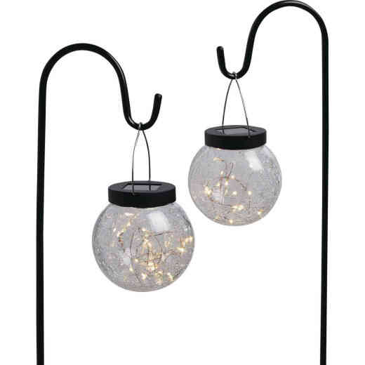 Outdoor Expressions Hanging Glass Globe 30 In. H. Solar Stake Light (2-Pack)
