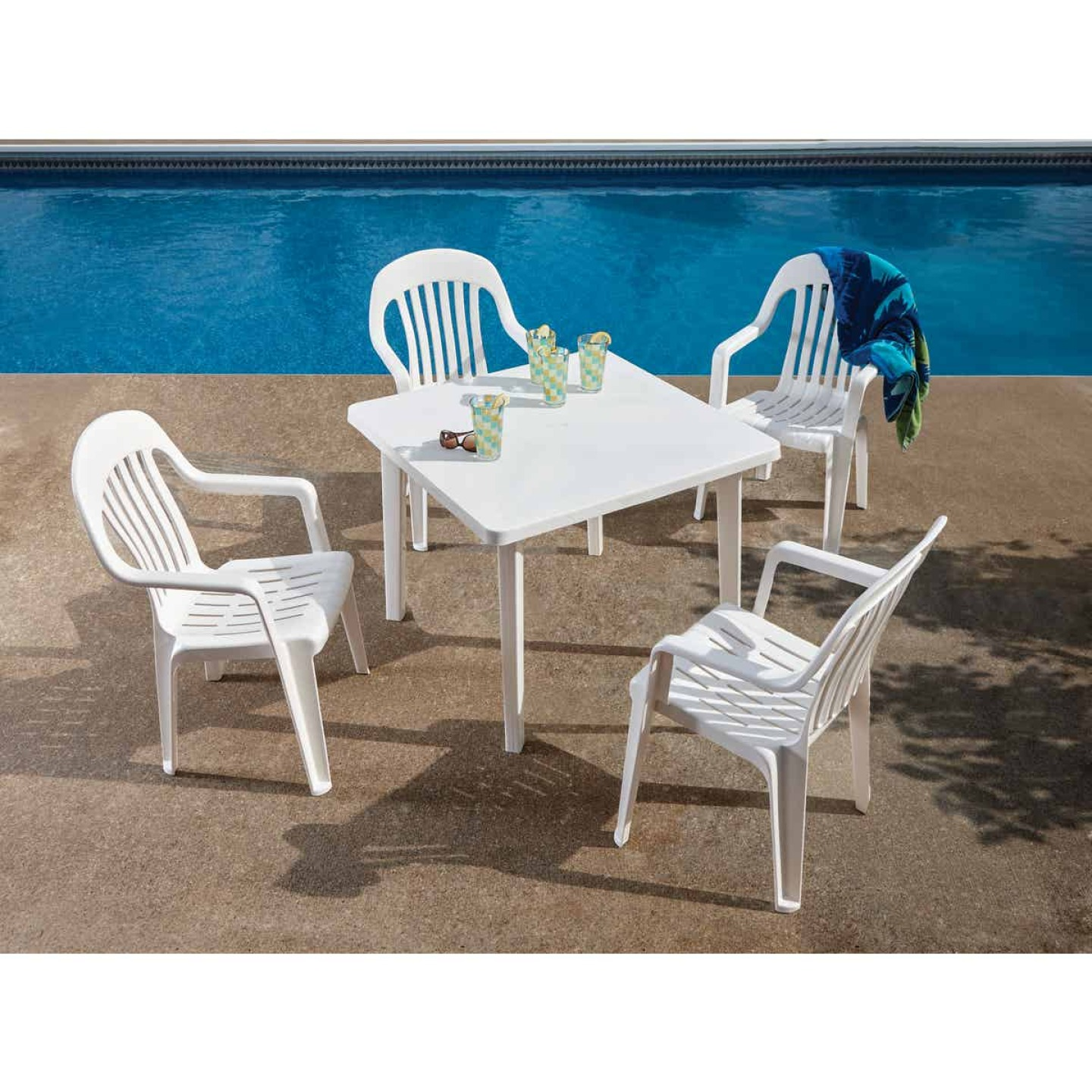 Adams 36 In. Square White Resin Table Image 2