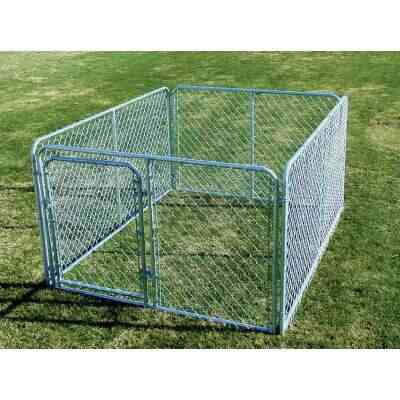 Fence Master Silver Series 6 Ft. W. x 4 Ft. H. x 8 Ft. L. Steel Outdoor Pet Kennel