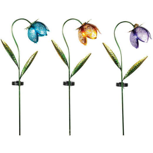 Solar Metal and Glass Flower Garden Stake