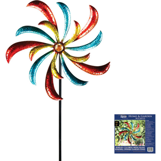 Alpine Jeweled Colorful Metal Blade Windmill Spinner Garden Stake